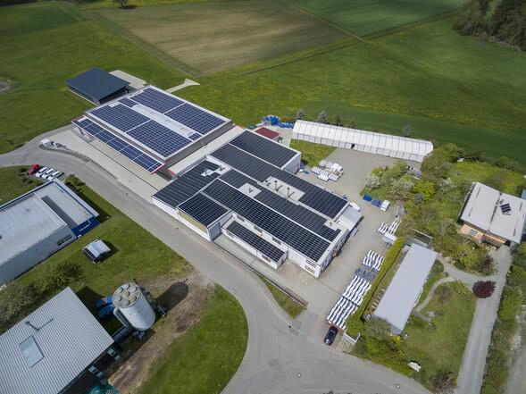 PRK Kunststoffverarbeitung Luftaufnahmen Produktionshalle CFK GFK Faserverbundstoffe